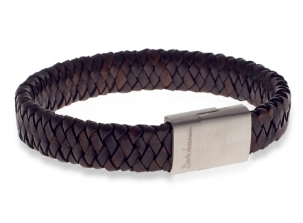 Demon Flat Weave Bracelet Brown - Brown woven leather bracelet