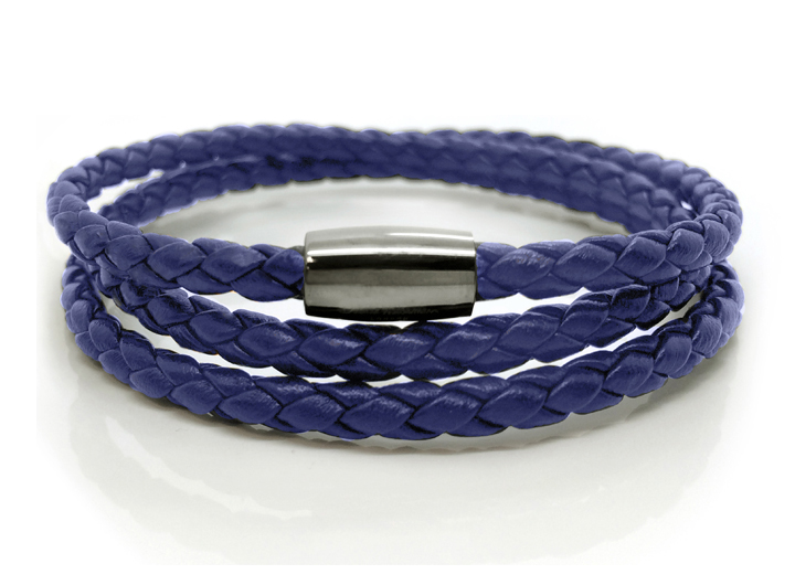 Braid Triple Bracelet Blue - Blue Leather Wrap Bracelet