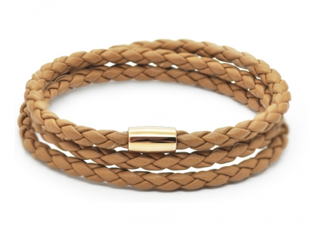 Braid Triple Bracelet Brown - Wrap Around Leather Bracelet
