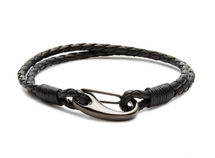 Demon Lobster Clasp Bracelet Black - Leather steel hook bracelet