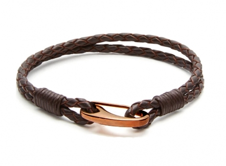 Demon Lobster Clasp Bracelet Brwon - Brown leather hook bracelet