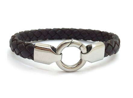 Harness Bracelet Brown - Mens steel and leather bracelet