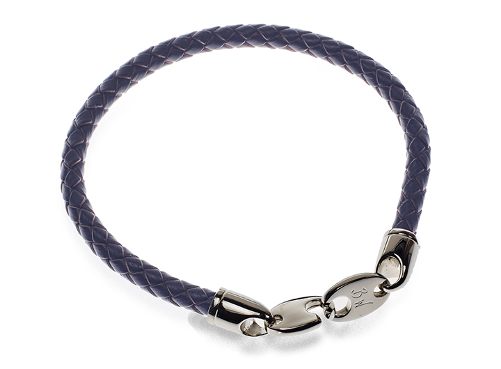 Link Leather Bracelet Navy - Blue leather bracelet with steel clasp