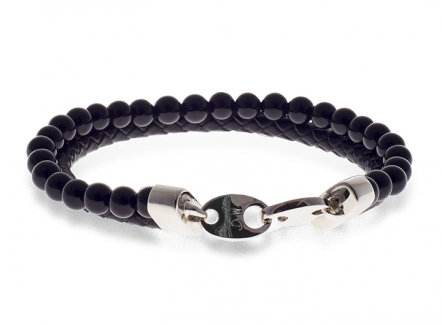 Link Mix Bracelet Onyx - Leather and beads bracelet