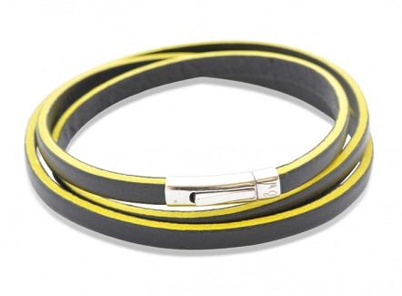 Liquorish Bracelet Yellow - Yellow leather bracelet