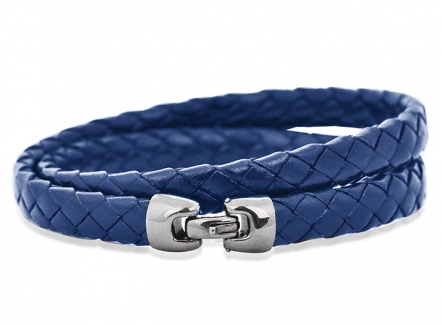 Cobra Bracelet Blue - Intrecciato blue mens bracelet - Luxury Leather bracelet