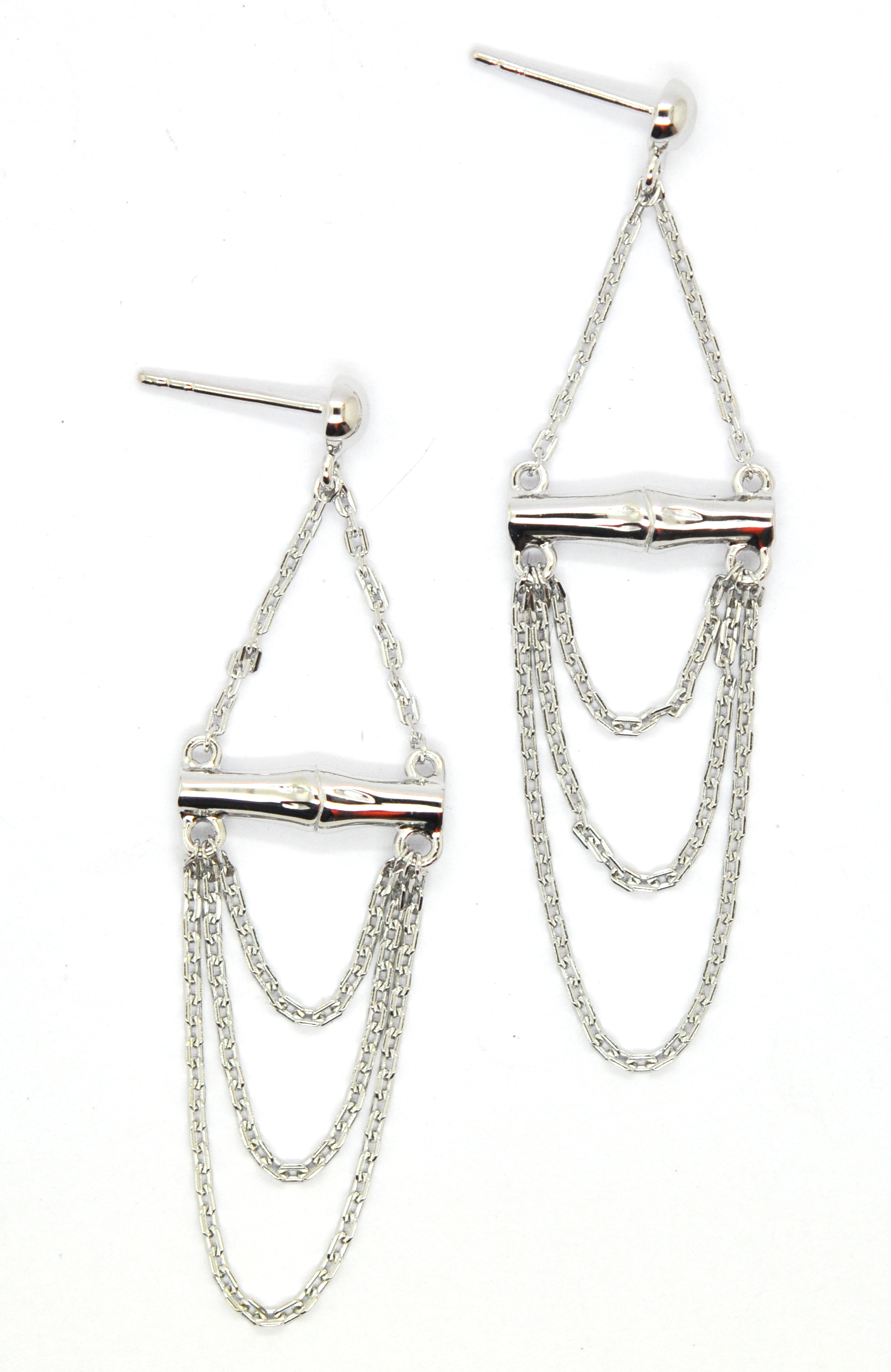 Bamboo Pendant earrings silver
