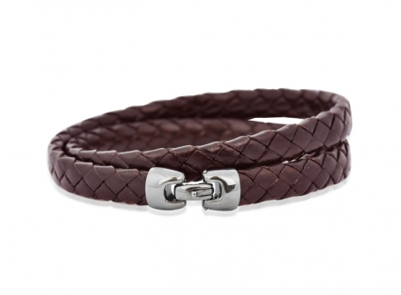 Cobra bracelet - Brown- BR291BR - intrecciato leather bracelet