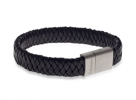 Babette Wasserman Demon Flat Weave Bracelet Black - Mens Woven Leather Bracelet