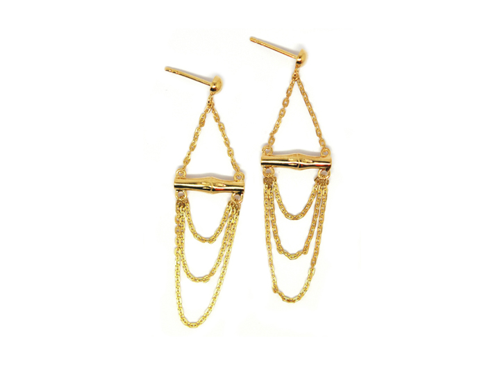 Bamboo Pendant Earrings Gold