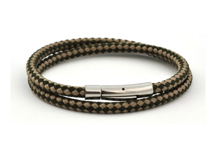 Harlequin bracelet - Khaki & Sand - BR288KS - Khaki bracelet for men