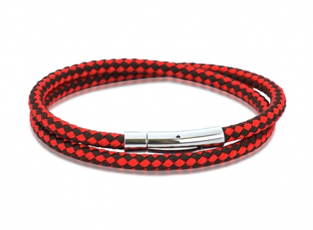Harlequin bracelet - Red & Brown - BR288RDBR - Red Bracelet for men