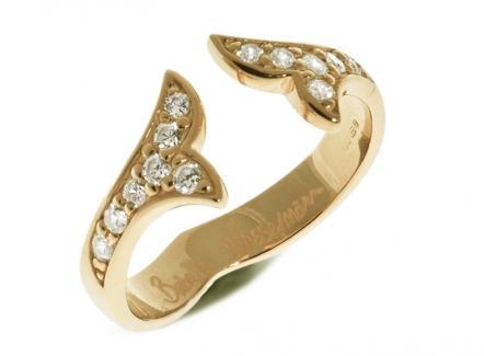 Flame Crystal Ring Gold