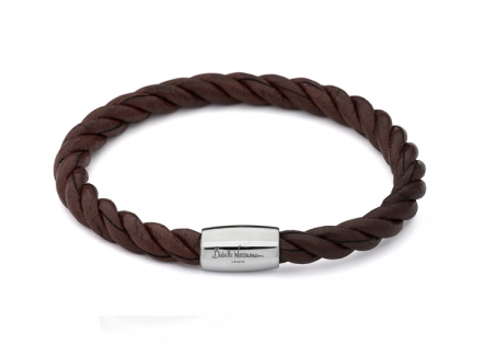 Twist bracelet - Brown - BR338BR - Leather bracelet for men
